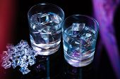 pic of vodka  - Two glasses of vodka with ice cubes - JPG