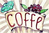 retro ribbon with the inscription of coffee.eps