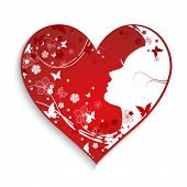 Beautiful Hearts With A Female Silhouette
