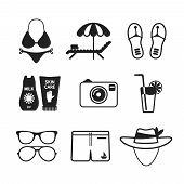 Set Of Vector Monochrome Beach Vacations Icons In Flat Style