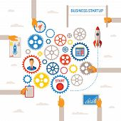Vector Template Of Business Start Infographic Concept