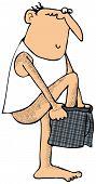 Man putting on his underwear