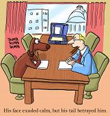 pic of negotiating  - Color cartoon of dog during negotiations with businessman or lawyer - JPG