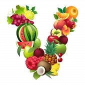 Letter V composed of different fruits with leaves