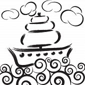Illustration Of Ship On Waves In Sea With Clouds