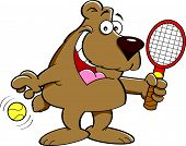 Cartoon bear holding a tenis racket.