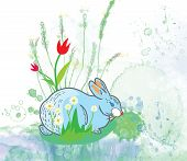 Easter rabbit with flowers background