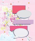 Speak frame on romantic floral background