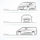 picture of motor-bus  - Set of modern car silhouettes - JPG