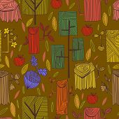 Graphic Spring Concept Background In Vector Apples, Hemp, And Acorn.vector Spring Background In Vint
