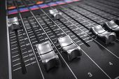 stock photo of mixer  - an audio mixer in a tv channel - JPG