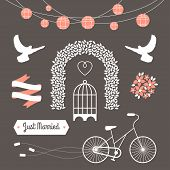 stock photo of tandem bicycle  - Vintage set of vector wedding illustrations and decorative elements - JPG