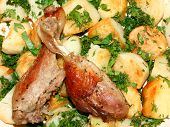 picture of roast duck  - Roast duck with potato with parsley and dill - JPG