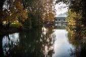 Autumn - Old bridge in park