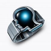 image of time-piece  - Smart watch concept or smartwatch symbol as a modern metal wristband with a time piece shaped as a human head as a technology gadget with a touchscreen - JPG