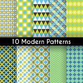 Different modern vector seamless patterns