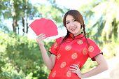 Asian Girls Holding Red Envelope