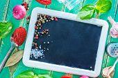 foto of recipe card  - aroma spice and black board for recipe - JPG