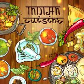 stock photo of indian food  - beautiful hand drawn illustration indian food top view - JPG