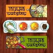 pic of indian food  - beautiful hand drawn banners indian food top view - JPG