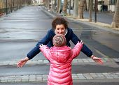 Happy Family Moments - Young Girls Having Fun In The City