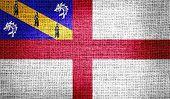 Herm flag on burlap fabric