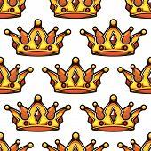 Cartoon emperor crowns seamless pattern