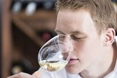 Man Smelling A Glass Of White Wine.