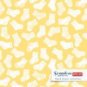 White on yellow socks seamless pattern