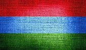 Karelia flag on burlap fabric