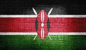 Kenya flag on burlap fabric