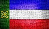 Khakassia flag on burlap fabric
