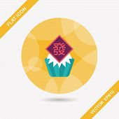 Chinese New Year Flat Icon With Long Shadow,eps10 ,chinese Steamed Sponge Cake Means Both