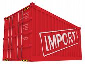 Import, Red Cargo Container Isolated On White Background