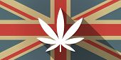 picture of marijuana leaf  - Illustration of a UK flag icon with a marijuana leaf - JPG