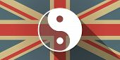 picture of ying yang  - Illustration of a UK flag icon with a ying yang - JPG