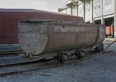 picture of railroad yard  - The empty trolley at the mine yard - JPG