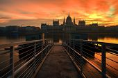 image of hungarian  - Long Exposure Image Of The Hungarian Parliament And Dock No 1 In Budapest - JPG