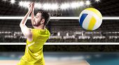 image of volleyball  - Volleyball player on yellow uniform on volleyball court - JPG