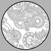 picture of trippy  - coloring book page for adults  - JPG
