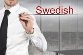 image of pronunciation  - businessman translator in office writing swedish in the air