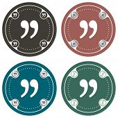 stock photo of quotation mark  - Set of four colored flat simple frames and quotation mark - JPG