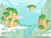 foto of vegetation  - Illustration of Floating Islands with Lush Vegetation on Top - JPG