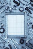 foto of hardware  - hardware tools at metal background texture - JPG