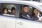 image of car carrier  - Family Setting Off On Car Journey - JPG