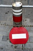 picture of traffic rules  - Wrong direction do not enter red round traffic european - JPG