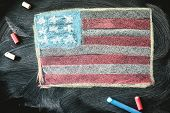 foto of preamble  - black chalkboard in classroom with flag of us - JPG