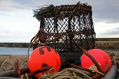 picture of lobster trap  - Empty lobster pot and buoys on the quayside - JPG
