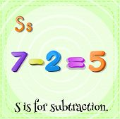 picture of subtraction  - Flashcard letter S is for subtraction - JPG