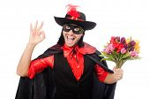 image of zorro  - Young man in carnival coat isolated on white - JPG
